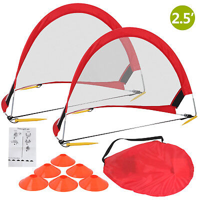 Two Set of 2.5 ft Portable Pop Up Soccer Goal Football Play Nets w/Carry Bag Red