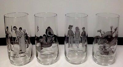 Vintage Set of (4) Four Norman Rockwell Tumbler/ Drinking Glasses- Great Shape!