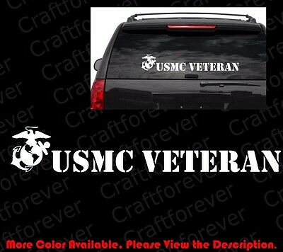 LARGE USMC United States Marine Corps VETERAN DIE CUT Vinyl Decal Sticker AY018