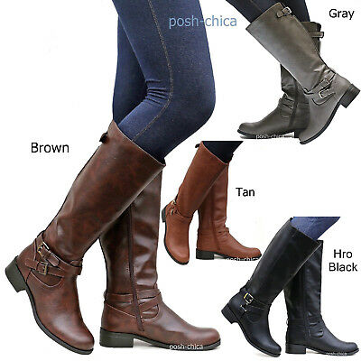 New Women SBHr Tan Black Gray Brown Buckle Riding Knee High Boots size 5.5 to 11