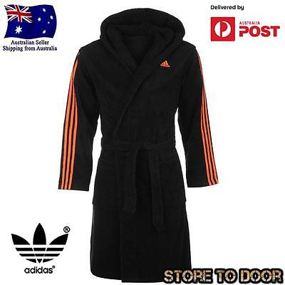 Adidas Mens 100% Cotton Hooded Towel Dressing Gown Robe Bath Pyjamas