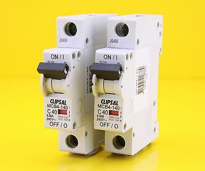 Clipsal MCB4-140  Miniature Circuit Breaker MCB 240VAC 40A Single Phase (2 Pack)