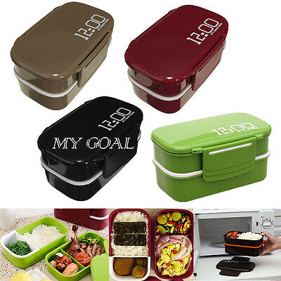 Microwave Plastic Bento Lunch Box Picnic Food Container Large Storage Spoon Fork