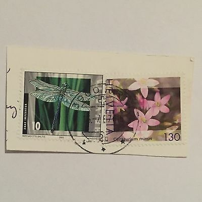 Switzerland Swiss Helvetia Stamps X2 Used Afixed To Card