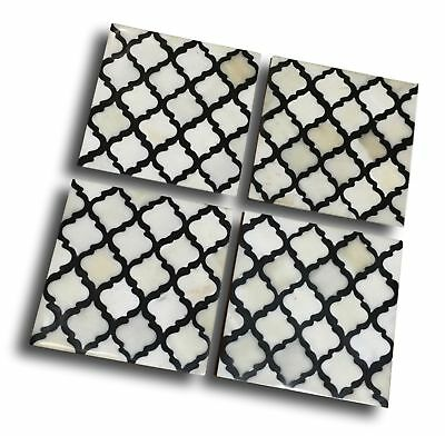 Bone Inlay Moroccan Pattern Coasters Set of 4 Black & White  Handmade Monochrome