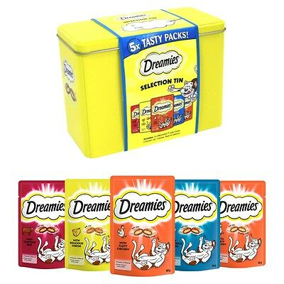 Dreamies Selection Treat Tin With 5 Packs Of Dreamies