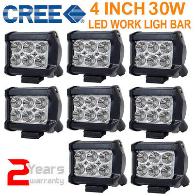 8x 4INCH 30W CREE LED WORK LIGHT BAR DRIVING SPOT OFFROAD 4WD ATV BOAT 12V