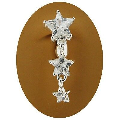 Fake Belly Button Ring Non Piercing Navel Clip Crystal Clear Star Cascade Stars