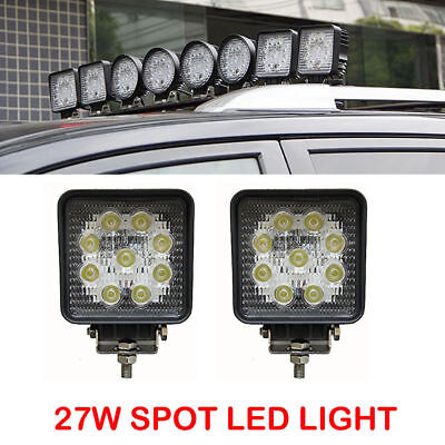 2x 4INCH 27W 12V 9 LED Square Work Spot Light Lamp Truck SUV UTV ATV Offroad 4WD