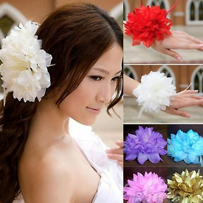 NEW Beautiful Large Glitter & Feather Flower Hair Clip/Corsage, UK Seller