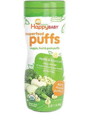 Happy Baby Superfood Puffs - apple & broccoli (Pack of 6)