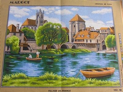 Canvas Tapestry Needlepoint Printed Margot Canevas Gobelin Village De France New