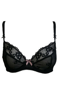 Ex M&S Marks & Spencer Black Lace Sheer Underwired Bra
