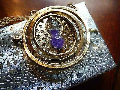 US Seller - NEW Harry Potter Time Turner PURPLE SAND Rotating Necklace F/S