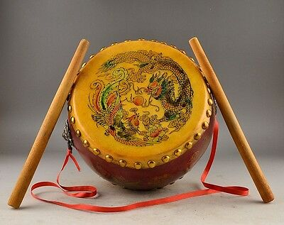 """10.6""""Vintage Chinese Dragon Style Rosewood Leather Drum Percussion (Low War Drum"""