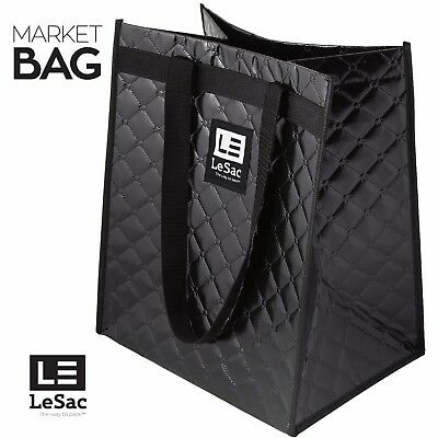 Le Sac Quilted Reusable Grocery Bag Heavy Duty Shopping Tote Bag Large Bag 2 Pk