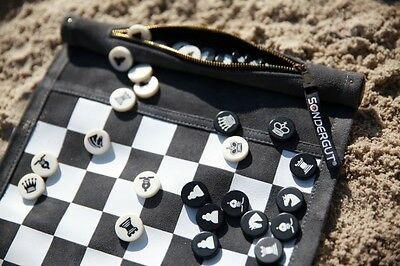 Chess / Checkers Travel Game by Sondergut - roll-up, light weight, high quality