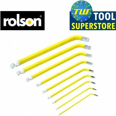 """Rolson 1/16""""-3/8"""" 9pc Long Arm Imperial Ball End Hex Key Set with Holder Car Van"""