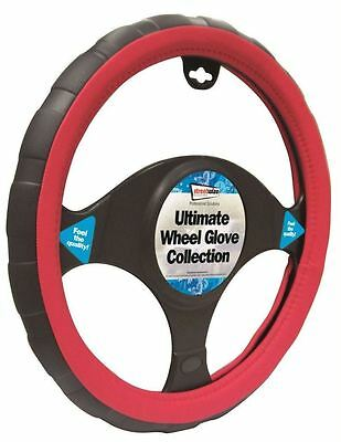 Toyota Prius Black & Red Sports Grip Steering Wheel Cover Glove 37cm
