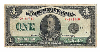 ✪ 1923 Dominion of Canada - $1 Bank Note - Fine DC-25a - C184640