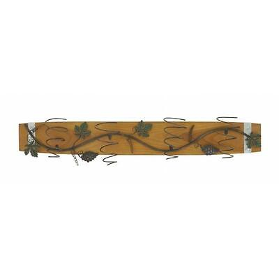 Benzara 85215 Vine Creeper Design Wood Metal Wall Wine Holder