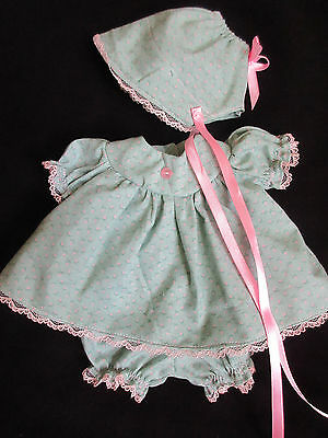 "3 Piece Calico Dress Set For 14"" Vintage Ideal Betsy Wetsy Baby Doll"