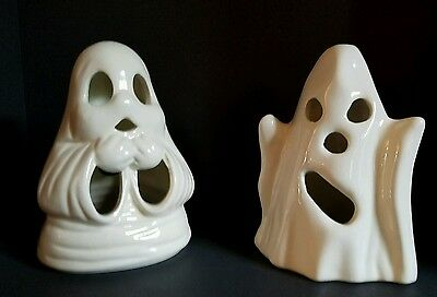 Vintage Halloween Ceramic Spooky Ghosts Candle Holders Set of (2)