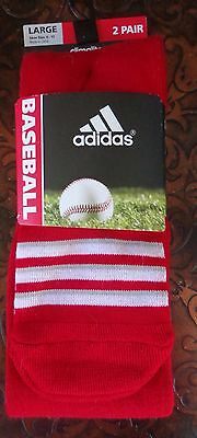Adidas Baseball Climate Socks 2 Pack University Red/White Size Large - New