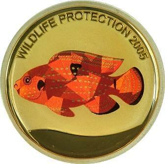 Congo 2005 Red Perch Fish 10 Francs Silver Hologram Proof Coin