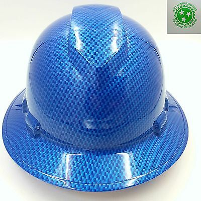 FULL BRIM Hard Hat custom hydro dipped , CARBON FIBER CANDY BLUE, SAFETY GLASSES