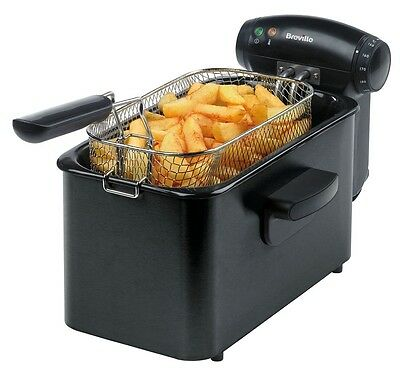 Breville VDF112 Stainless Steel Professional Deep Fat Oil Fryer 3L, 1kg - Black