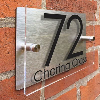 House signs Acrylic Glass Effect Aluminium Number Door Plaques
