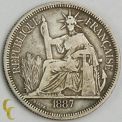 1887-A French Indo-China Piastre (VF) Silver Coin KM#5