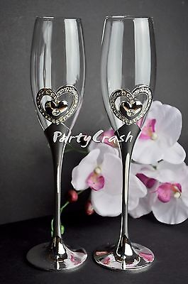 Wedding Engagement Toasting Glasses Champagne Flutes Wine Silver Hearts