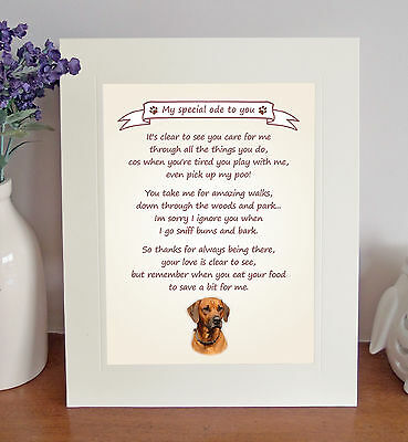 "Rhodesian Ridgeback 10""x8"" Free Standing 'Thank You' Poem Fun Gift FROM THE DOG"