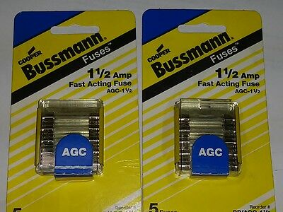 AGC Fast Acting 1.5 Amp 250 Volt Fuse LOT of 10 Stereo VCR GPS Cell charger Buss