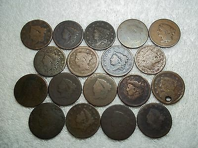 US Large Cents lot of 18 dateless holed ugly well circulated #X3.c6.25