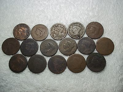 US Large Cents lot of 16 dateless holed ugly well circulated #X4.c2.22