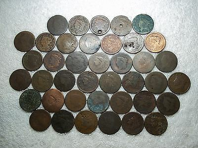 US Large Cents lot of 40 dateless holed ugly well circulated #X7.h0.56