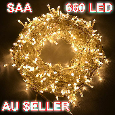 660LED 100M String Fairy Lights SAA Christmas Warm White Wedding Party Decoratio
