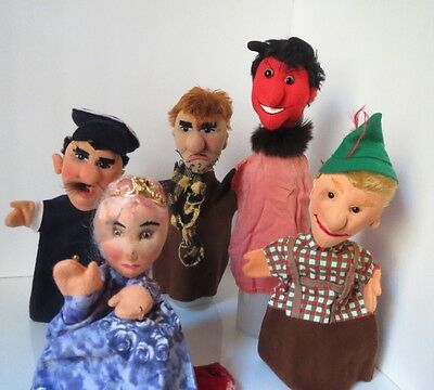 Set of 5 Kersa Vintage hand puppet 1950s Made in German Hand crafted Fairy Tale