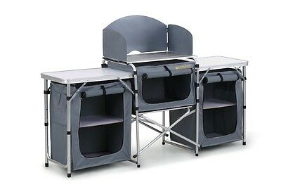 Camping Kitchen Cooking Table Work Top w Double Cupboards Windshield & Carry Bag
