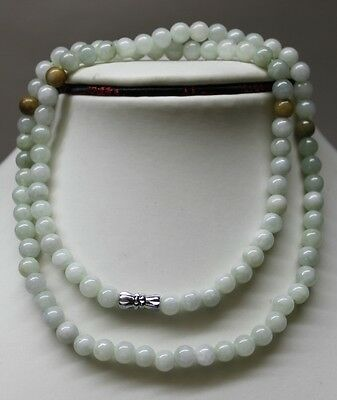 100% Natural Untreated Chinese Jadeite Jade Beads Necklace, 6mm, 21 Inches #0006