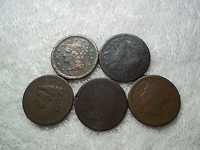 US Large Cents lot of 5 dateless well circulated #X19.c1.20