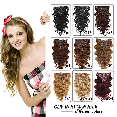 Peruvian Clip In Remy Human Hair Extensions Body Wave Full Head Hair Weft 100g