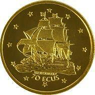 Gibraltar 1996 Admiral Nelson Ship HMS Victory 1/5 oz 70 Ecus Gold Proof Coin