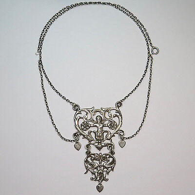 Victorian Sterling Silver Ornate Festoon Pendant Necklace Conversion Piece