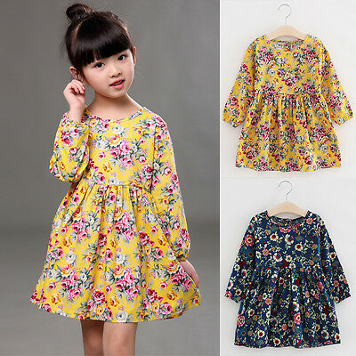 Toddler Baby Girl Floral Dress Princess Party Summer Casual Dresses Kids Clothes
