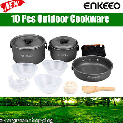 10 Pcs Outdoor Camping Hiking Cookware Backpack Picnic Cooking Bowl Pot Pan Set