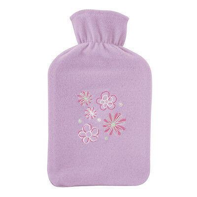 Lightweight Warm & Cosy Lilac Floral Fleece Cover 2 Litre Hot Water Bottle